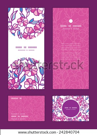 Vector vibrant field flowers vertical frame pattern invitation greeting, RSVP and thank you cards set - stock vector