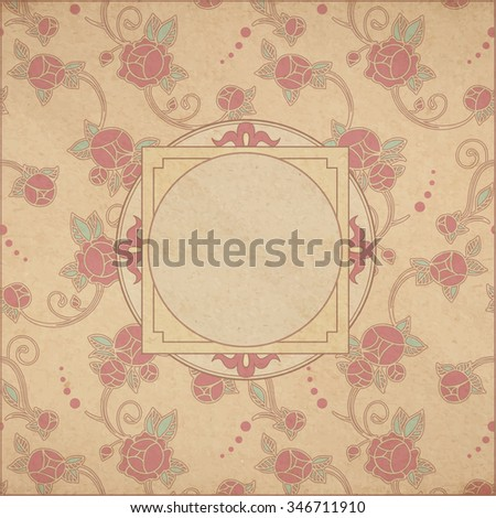 Vector Victorian retro background - textured old paper card background in art nouveau style with roses and copy space - stock vector