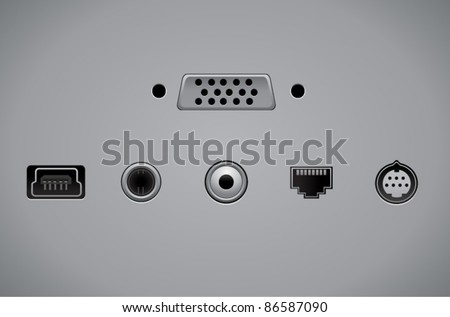 Vector video and audio connectors - stock vector
