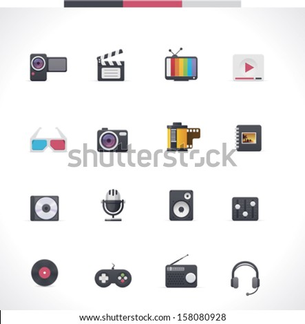 Vector video and audio multimedia icon set