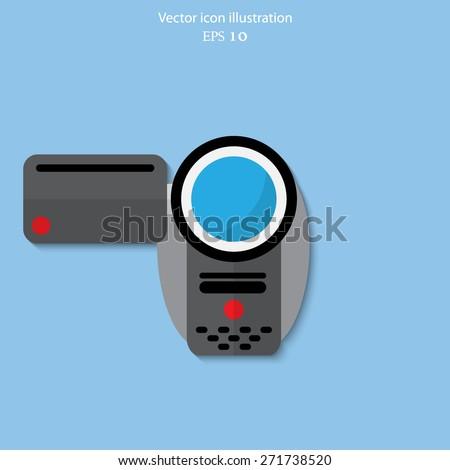 Vector video camera flat icon illustration. - stock vector