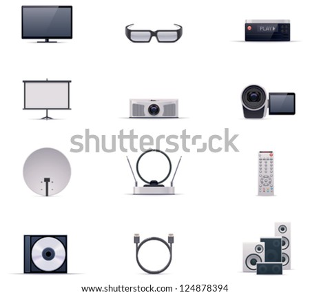 Vector video electronics and multimedia icon set. Includes TV, 3d glasses, projector, camera, antenna, satellite dish, remote control, cables and connectors - stock vector