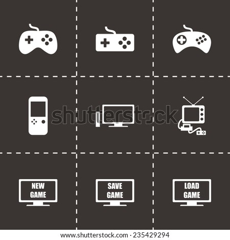 Vector video game icon set on black background - stock vector