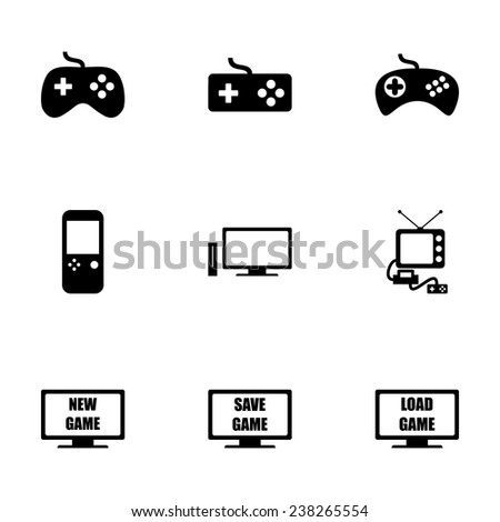 Vector video game icon set on white background - stock vector