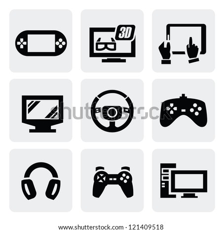 vector video game icons set on gary - stock vector