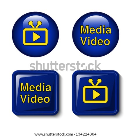 Vector video media icons - buttons