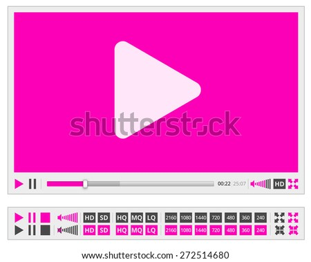 Vector video player template in flat violet clean style,  for web and mobile apps - stock vector