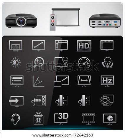 Vector video projector features and specifications icon set - stock vector