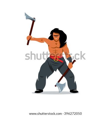 Vector Viking warrior with two axes Cartoon Illustration. Barbarian Warrior swinging arms. Branding Identity Corporate unusual Logo isolated on a white background - stock vector
