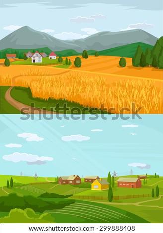 Vector village flat illustration set - stock vector