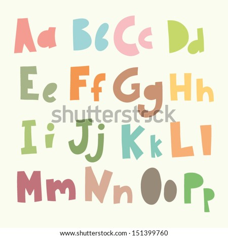 Vector Vintage Alphabet. Cute hand drawn letters./1 - stock vector