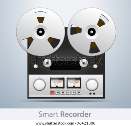 Vector vintage analog stereo reel to reel tape deck recorder - stock vector