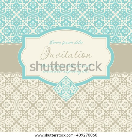 Vector vintage background and frame for design invitations and cards