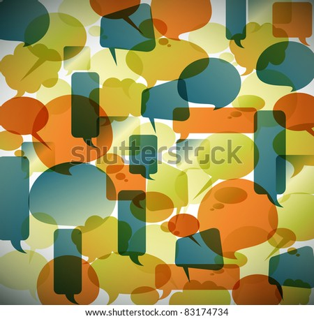 Vector vintage background made from speech bubbles - stock vector