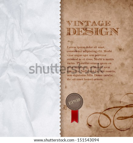 Vector vintage background of old cardboard and crumpled paper - stock vector