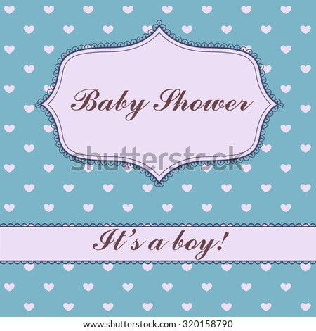 Vector vintage background with hearts baby shower