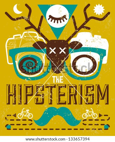 Vector Vintage Background with Hipster Style Elements - stock vector