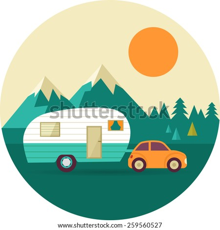 Vector Vintage Background With Nature Forest Mountains And Camper Car