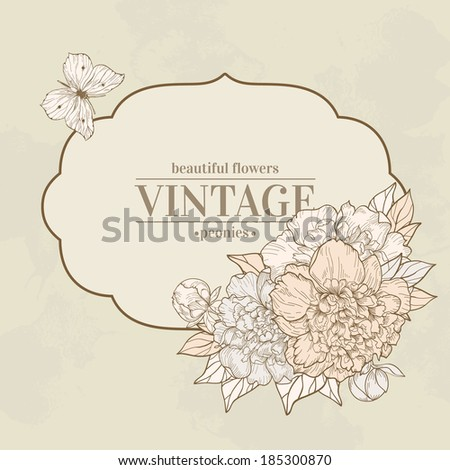 Vector vintage background with peony and butterfly. Use for invitations, greeting cards.