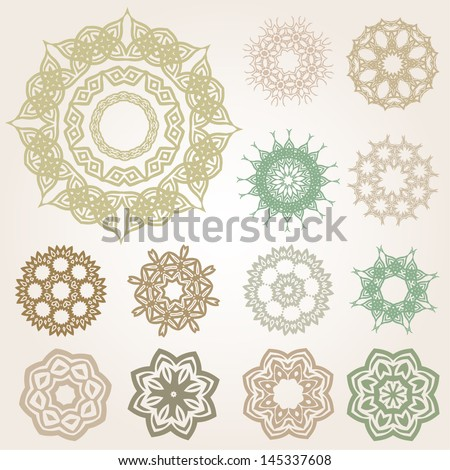 Vector Vintage Baroque Circular Ornaments Set - Graphic elements to embellish your layout. Vector file editable, scalable and easy color change. You can use the background or isolated elements. - stock vector