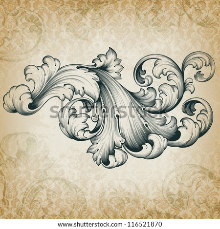 Vector vintage baroque engraving floral scroll filigree design frame border acanthus pattern element at retro grunge damask background - stock vector