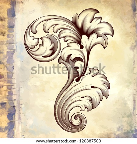 Vector vintage baroque engraving floral scroll filigree design frame border acanthus pattern element at retro grunge background - stock vector