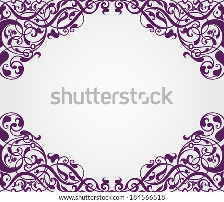 vector vintage Baroque scroll design frame border corner pattern element engraving retro style ornament - stock vector