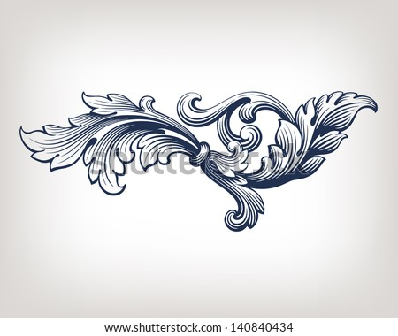 vector vintage Baroque scroll design frame pattern element engraving retro style - stock vector