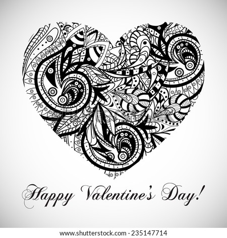 Vector vintage black and white Valentine's day card with the heart with gorgeous ornament and text - stock vector