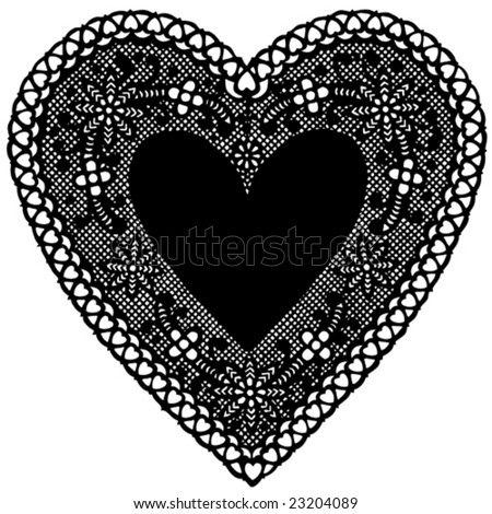 vector - Vintage Black Lace Heart Doily. Antique design, copy space for Valentine's Day, anniversaries, birthdays, albums, scrapbooks, cake decorating. Isolated on white background. EPS8 compatible. - stock vector