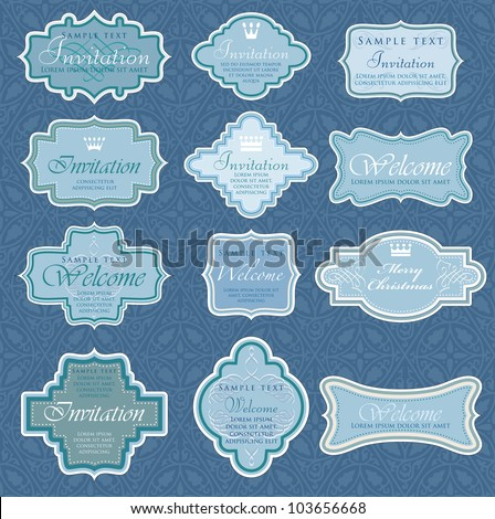 vector vintage blue labels for invitation or other use - stock vector
