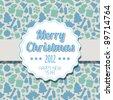 Vector Vintage blue retro Christmas label on seasonal pattern - stock vector