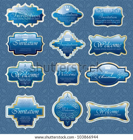 vector vintage blue shiny labels for invitation or other use - stock vector