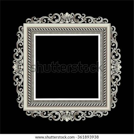 Vector vintage border frame engraving with retro ornament pattern in antique rococo style decorative design - stock vector