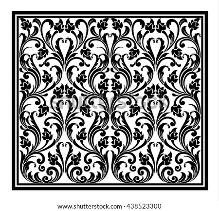Vector vintage border frame logo engraving with retro ornament pattern in antique rococo style decorative design - stock vector