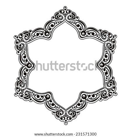 Vector vintage border frame. Retro ornament pattern. Decorative design - stock vector