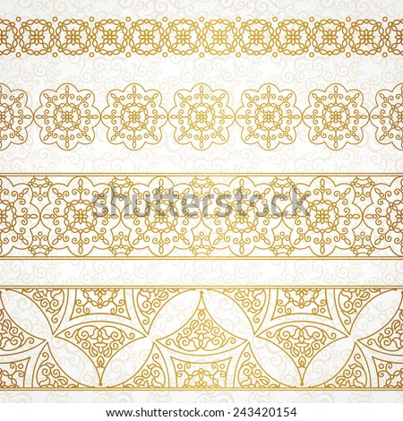 Vector vintage borders in Eastern style. Ornate element for design and place for text. Ornamental floral illustration for wedding invitations and greeting cards. Traditional golden decor. - stock vector