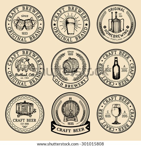 Vector vintage brewery logo set. Retro logotype with beer. Brewery signs. Beer icons collection.Old brewery. Beer labels. Brewery sketch. Beer bar. Brewery background. Craft beer. Beer  illustration.  - stock vector