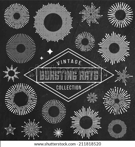 Vector vintage bursting rays set - design elements for your design. Great for retro style projects.  - stock vector