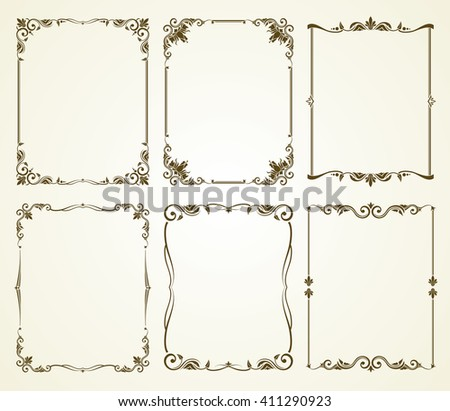 vector vintage calligraphic frames set vintage stock vector royalty