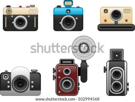 vector vintage cameras set 2 - stock vector
