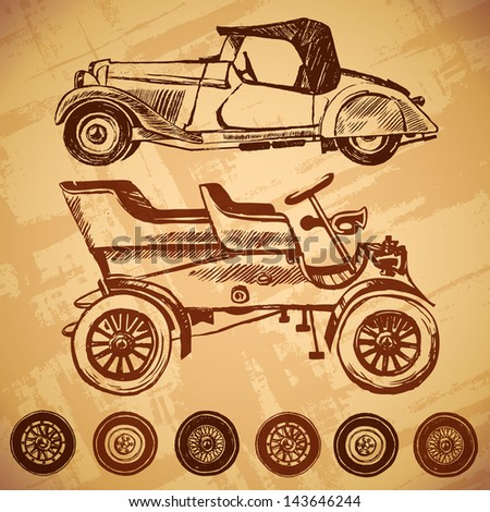 Vector vintage car and wheel set. ink stains and brush strokes. texture of the old paper - stock vector