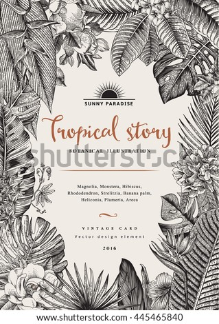 Vector vintage card. Botanical illustration. Tropical flowers and leaves. Black and white - stock vector