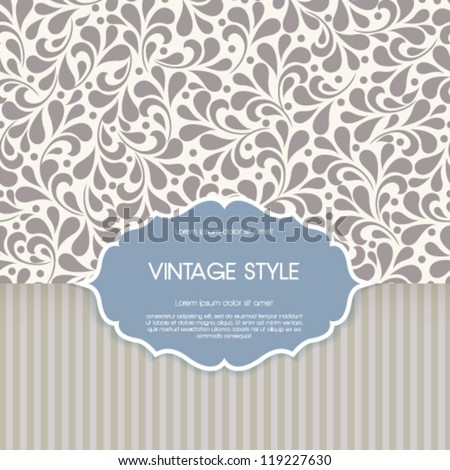 Vector vintage card with floral ornament design. - stock vector
