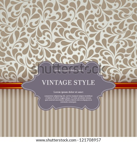 Vector vintage card with floral ornament design.