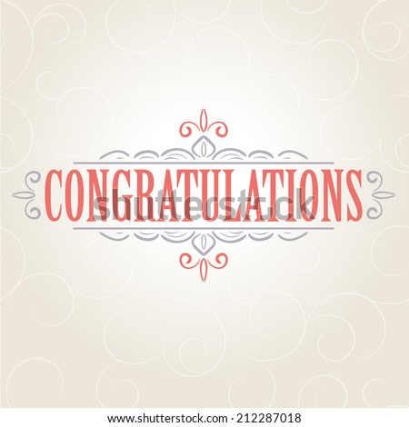 Vector vintage card with floral ornament design. Congratulations card - stock vector