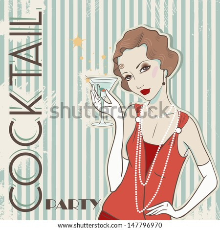 Vector vintage card with Girl - stock vector