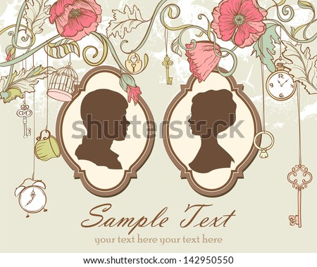 Vector Vintage card with just married - stock vector