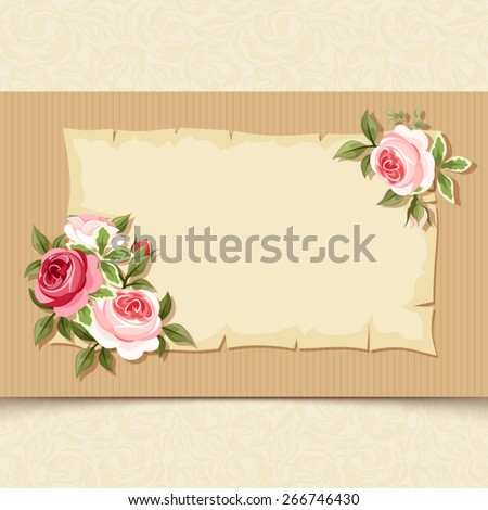 Vector vintage card with red and pink roses on a cardboard background. - stock vector