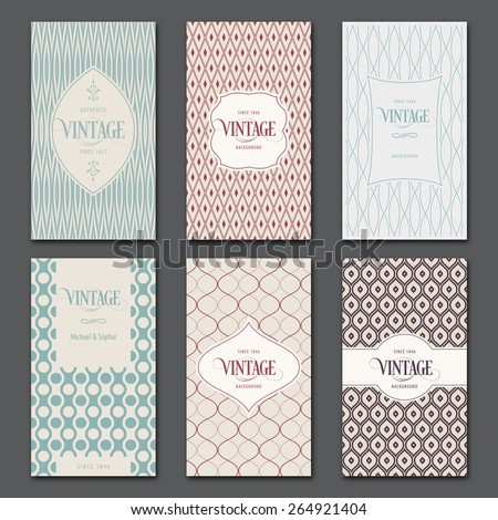 Vector vintage cards templates. Frames and backgrounds, banner, book cover, brochure design. Abstract Seamless pattern inside clipping mask. - stock vector